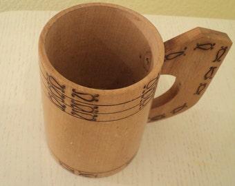 Sale Vintage Wooden Folk Art Mug. 1970s.