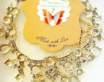 Crystal Tear Drop Bib Statement Necklace, Bridal Jewellery, Clear Rhinestones and Gold