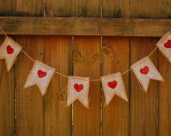 Valentines Day Banner, Heart Banner, Wedding Bunting, Burlap Heart Banner, Red Heart Banner, Handmade Banner, Rustic Bunting, Baby Shower