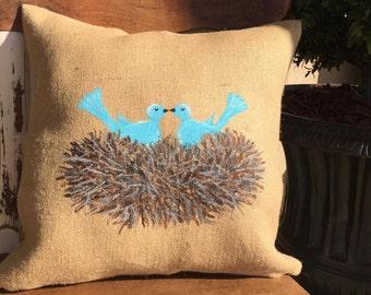 Throw Pillows/Couch Pillows/Sofa Pillows/Birds Nest/Love Birds/Birds/Burlap Pillow/Spring Decor/Spring Pillow
