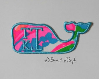 Iron On Lilly Pulitzer Monogram Patch / Whale Iron On Applique/Preppy Whale Patch/Lilly Pulitzer Whale Patch/Backpack Patch/Lilly Patch