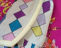 SaLE oN PUCCI EVENING PURSE Geometric optical Print Silk & Leather Vintage Clutch Bag Emilio Retro Diamond Pastel 70s ITaLY Designer Handbag