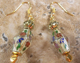 Antique Cloisonne earrings in gold tone with turban bead and ear wires - ME122
