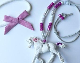 children's beaded necklace / baby unicorn