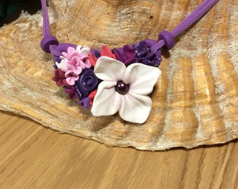 Necklace in polymer clay-floral design in mauve, pink, dark mauve and white on a  mauve base