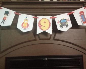 London, England, UK, Britain Birthday Party Mini Banner