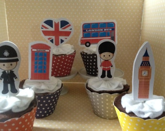 London, UK, British, England Party Cupcake Topper Decorations - Set of 10