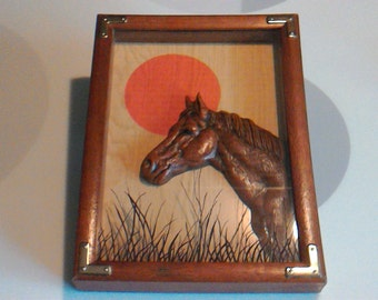 Vintage 1978 Horse Shadow Box Wall Hanging by Wallace Berrie