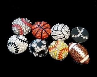 Rhinestone Slide Charm Add Ons , Choose Sport Ball