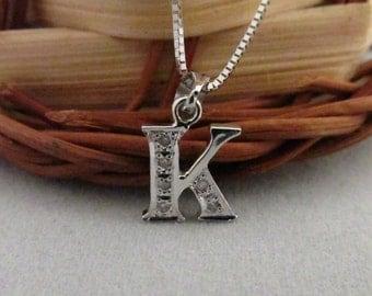 "18K Solid White Gold Diamond Initial ""K"" Pendant"