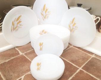 Dinner Plates Dinnerware Set White Dishes White Plates White Dinner Plates Bulk Plates Milk Glass Plate Dinner Wheat Pattern China Fire King