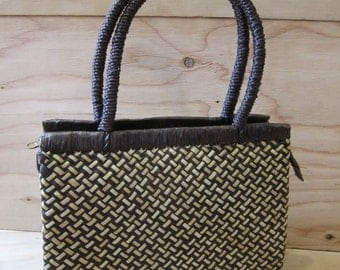 Brown Woven Straw Purse