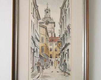 """Vintage Original Signed R. Ericksson """"Storkyrkan, Stockholm"""" Sweden Etching Lithograph Print * Europe Street Scene Etching Litho * 19"""" x 11"""""""