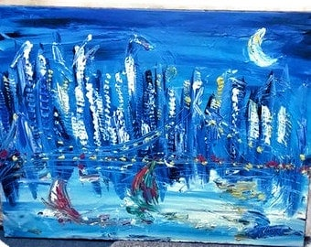 Manhattan Blue Original Painting by Mark Kazav