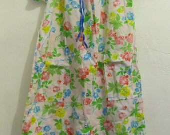 Marked Down 30%@@A Pretty Vintage 50's,Snap Front FLORAL Mid Century House Dress.M  LN!