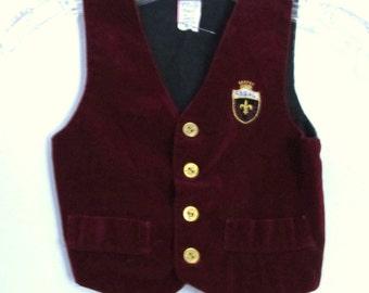A Little Boys Vintage 60's,Burgundy Button Front Crushed Velvet REGAL Vest.3