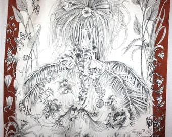 Exquisite //  MAGGIE ROUFF \\  Silk Scarf in original Envelope.  Made in France.  (3707)