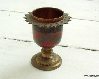 Vtg Brass Chalice Ornament Goblet Vintage cup wine chalice water chalice Collectible painted blue red goblet G04/290