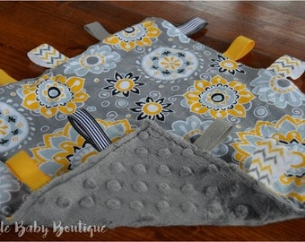 Yellow/Grey Floral Security/Taggie Blanket