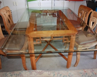 Kim3 wood dinner table with glass top and 4 chairs, dinning table, kitchen table