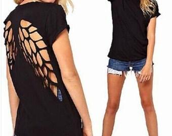 Women Fashion Punk Open Back Hollow Back angel Wing shirt
