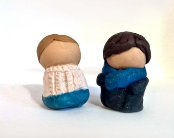 Sherlock Holmes & John Watson Clay Chibi Figures - Minimalist BBC Inspired Mini Miniature Figurines - OOAK