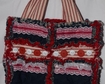 Upcycled Denim and Red Stripe Ticking Fancy Rag Bag With Magnetic Closures