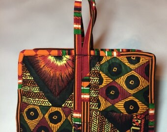 Book cover quilted 100% cotton African print.