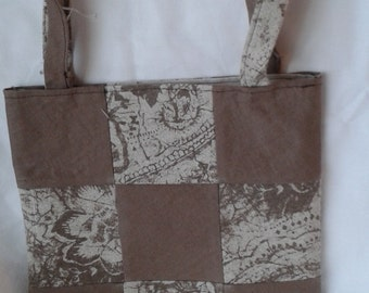 Tote bag in patchwork coffee-coloured linen fabric