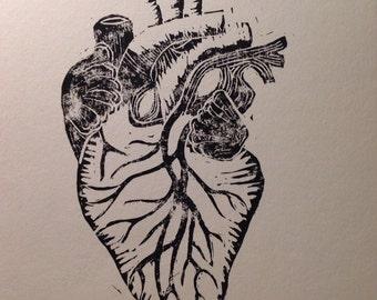 Anatomical Human Heart Design - Linocut Print Cardiology