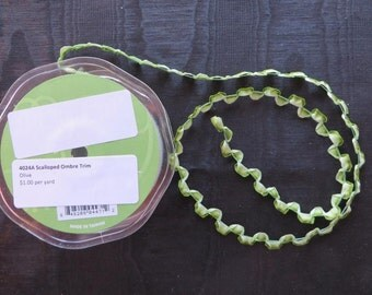 Olive Scalloped Ombre Trim 4024A