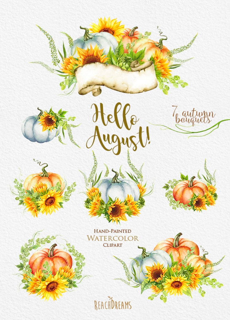 Pumpkin & Sunflower Watercolor clipart Golden by ReachDreams