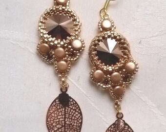 "Earrings ""Isabelle"" swarovski crystal gold pink"