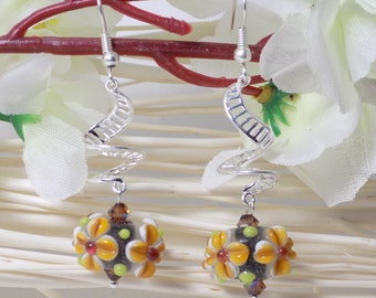 lampwork earrings on spiral 2