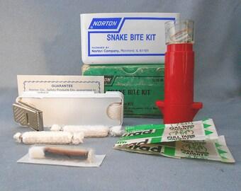 Vintage SNAKE BITE Kit Norton Medical Collectible / COMPLETE Antique Emergency Travel Snakebite Kit / Rattlesnake Bite Medical First Aid Kit
