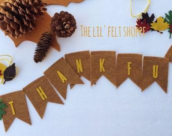 Thanksgiving Garland, Fall Garland,Thanksgiving Banner, Fall Banner, Pumpkin Garland, Felt Garland, Thankful Banner, Blessing Banner, Fall