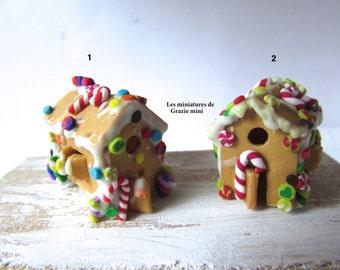Miniature gingerbread house -Scale 1:12- Dollhouses miniatures