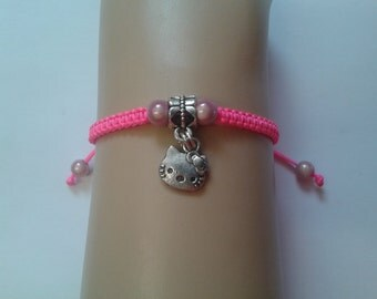 Cat bracelet - girls cat bracelet - girls bracelet - childrens bracelet - childrens jewelry - cat charm - neon bracelet - pink bracelet
