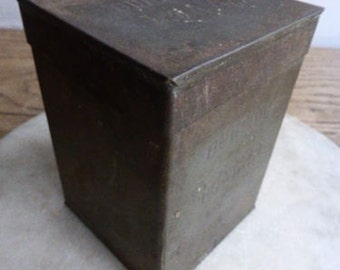 Antique/vintage tall numbered tea storage tin (with lid)
