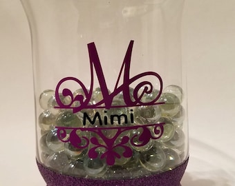 Personalized Monogrammed Hurricane or Vase