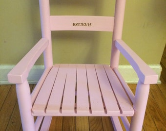 Kids Rocking Chair, Woodburned, Personalized