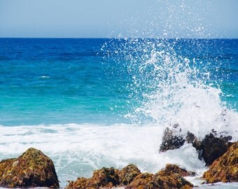 Ocean Print Waves, blue ocean print, crashing wave on rocks beach photo ocean beach blue photography 8 x10 6 x 8 beach  fine art photography