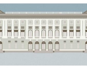 """Milan Icons """"GAM Galleria Arte Moderna in Milan-horizontal card 21x10 cm"""