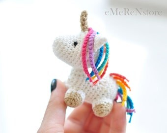 Amigurumi unicorn plush, FREE SHIPPING, Unicorn amigurumi, Stuffed unicorn toy, Kawaii unicorn stuffed animal, Mini unicorn figurine