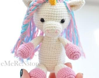 Amigurumi unicorn plush, Unicorn crochet,Unicorn amigurumi,Stuffed unicorn toy,Kawaii unicorn stuffed animal,newborn props-holiday gift-OOAK