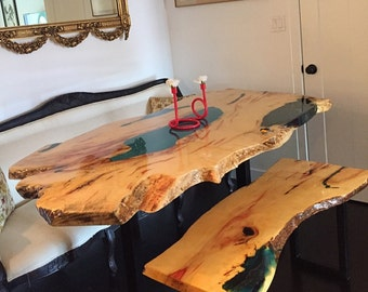 SOLD**Incredible Spalted Box Elder Live Edge Slab Dining Table with Custom Turquoise Epoxy(Custom order for Dorota)