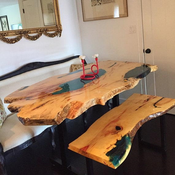 SOLDIncredible Spalted Box Elder Live Edge Slab Dining Table