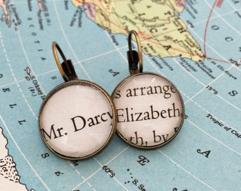 Pride and Prejudice Jane Austen Page Literary Earrings Darcy and Elizabeth