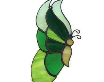 Stained Glass Butterfly Suncatcher, Green Butterfly, Handmade, Window Decoration