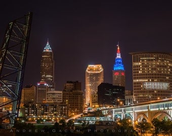 Cleveland Skyline from E. 9th Viaduct - Red, White, & Blue! - **HIGH-QUALITY** shot by Award Winning Photographer Andrew Gacom